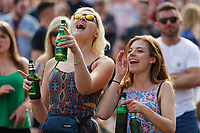 Pictured: Two women enjoy the concert. Saturday 26 May 2018<br /> Re: BBC Radio 1 Biggest Weekend at Singleton Park in Swansea, Wales, UK.