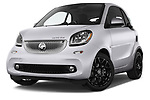 Stock pictures of low aggressive front three quarter view of a 2018 Smart fortwo prime coupe 3 Door micro car