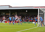 Jack O'Connell of Sheffield Utd heads goal wards during the English League One match at Glanford Park Stadium, Scunthorpe. Picture date: September 24th, 2016. Pic Simon Bellis/Sportimage