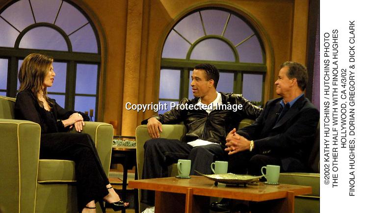 ©2002 KATHY HUTCHINS / HUTCHINS PHOTO.THE OTHER HALF WITH WITH FINOLA HUGHES.HOLLYWOOD, CA 4/3/02.FINOLA HUGHES, DORIAN GREGORY & DICK CLARK