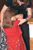 Mother reprimanding daughter's behavior ages 30 and 4.  Brooklyn Center  Minnesota USA