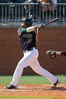 Logan Sherer (25) of the Charlotte 49ers follows through on his swing against the Canisius Golden Griffins at Hayes Stadium on February 23, 2014 in Charlotte, North Carolina.  The Golden Griffins defeated the 49ers 10-1.  (Brian Westerholt/Four Seam Images)