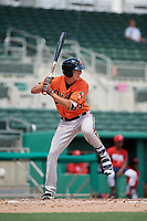 Baltimore Orioles Andrew Jayne (53) at bat during a Florida Instructional League game against the Boston Red Sox on September 21, 2018 at JetBlue Park in Fort Myers, Florida.  (Mike Janes/Four Seam Images)