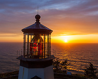 Tillamook County, Oregon: Sunset at Cape Meares lighthouse, Cape Meares State Park