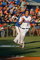 Whiteville High School Wolfpack pitcher MacKenzie Gore (1) rounding third base and scoring during a game against the Rosewood High School Eagles at Legion Stadium  on May 26, 2017 in Whiteville, North Carolina. Whiteville defeated Rosewood 5-0 to win the eastern 1-A baseball championship and advance to the state finals. (Robert Gurganus/Four Seam Images)
