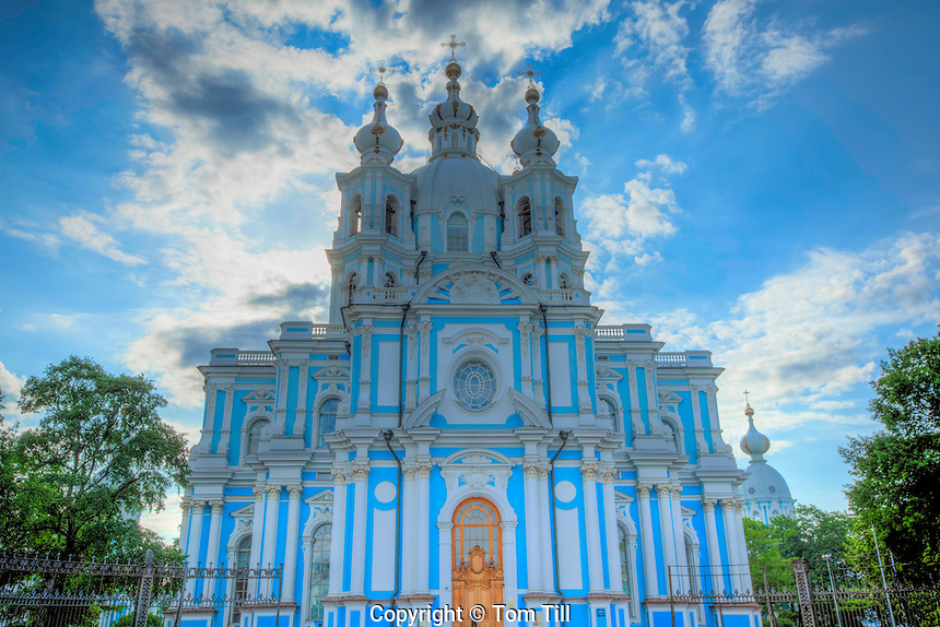 Smolny Cathedral, St. Petersburg, Russian Federation, Blue baroque style church on Gulf of Finland