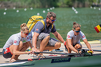 """Lucerne, SWITZERLAND, 14th July 2018, Saturday, """"Swiss Head Coach"""", Robin DOWELL, assisted his Double to boat,  FISA World Cup III Lake Rotsee, © Peter SPURRIER,"""