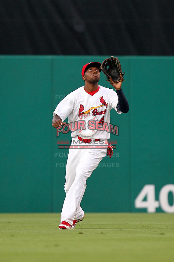 Palm Beach Cardinals outfielder Michael Swinson #4 during a game against the Fort Myers Miracle at Roger Dean Stadium on May 1, 2012 in Jupiter, Florida.  Palm Beach defeated Fort Myers 9-3.  (Mike Janes/Four Seam Images)