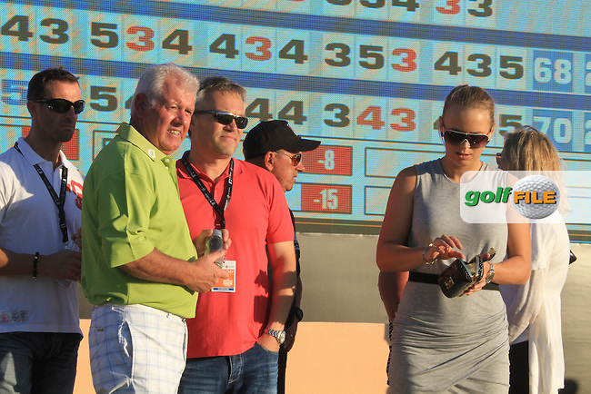 Rory McIlroy (NIR) father Gerry McIlroy and Girlfriend Caroline Wozniacki  on the third day of the DUBAI WORLD CHAMPIONSHIP presented by DP World, Jumeirah Golf Estates, Dubai, United Arab Emirates.Picture Fran Caffrey www.golffile.ie