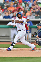 Tennessee Smokies first baseman Yasiel Balaguert (12) swings at a pitch during a game against the Mississippi Braves at Smokies Stadium on April 12, 2017 in Kodak, Tennessee. The Braves defeated the Smokies 6-2. (Tony Farlow/Four Seam Images)