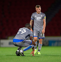 Lincoln City's John Akinde, left, and Lincoln City's Harry Anderson at the end of the game<br /> <br /> Photographer Chris Vaughan/CameraSport<br /> <br /> EFL Leasing.com Trophy - Northern Section - Group H - Doncaster Rovers v Lincoln City - Tuesday 3rd September 2019 - Keepmoat Stadium - Doncaster<br />  <br /> World Copyright © 2018 CameraSport. All rights reserved. 43 Linden Ave. Countesthorpe. Leicester. England. LE8 5PG - Tel: +44 (0) 116 277 4147 - admin@camerasport.com - www.camerasport.com