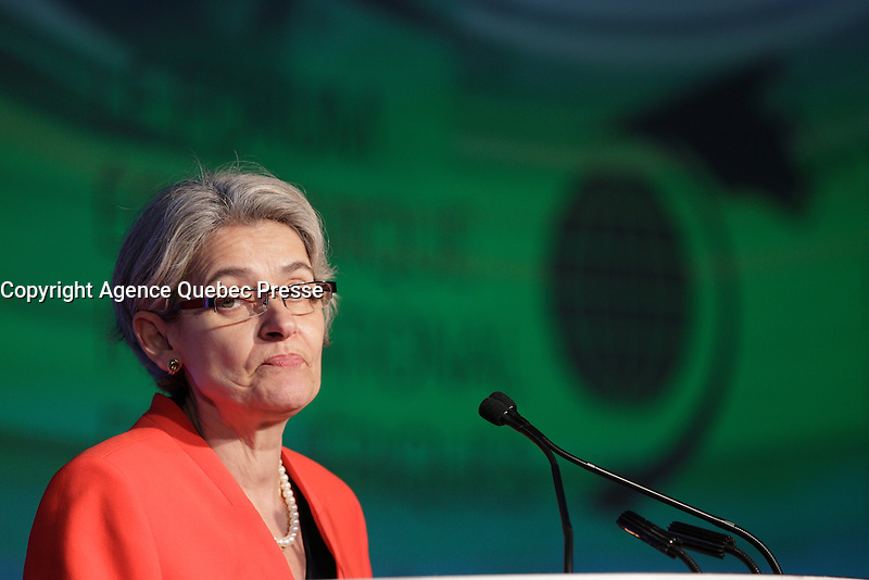 Irina Bokova, <br /> Director-General, United Nations Educational, Scientific and Cultural Organization attend the 22nd edition of the Conference of Montreal, held June 13 to 15, 2016<br /> <br /> PHOTO : Pierre Roussel -  Agence Quebec Presse