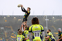 Jamie Gibson of Northampton Saints wins the ball at a lineout. Aviva Premiership match, between Northampton Saints and Sale Sharks on March 3, 2018 at Franklin's Gardens in Northampton, England. Photo by: Patrick Khachfe / JMP