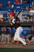 Batavia Muckdogs outfielder Brandon Rawe (22) at bat aduring a game against the State College Spikes August 22, 2015 at Dwyer Stadium in Batavia, New York.  State College defeated Batavia 5-3.  (Mike Janes/Four Seam Images)