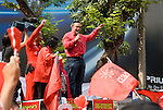 Bangkok, Jan 23: Red Shirt leader Jatuporn Prompan speaks at the  United Front for Democracy against Dictatorship (UDD)  protestors rally at Ratchapraong intersection in central Bangkok before marching to Democracy Monument. Red Shirt leaders vowed to rally two times each month to commemorate the military crackdowns on protestors last year. Bangkok, January 23, 2010.