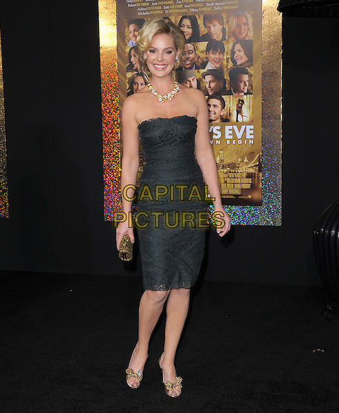 "Katherine Heigl.The World Premiere of ""New Year's Eve' held at The Grauman's Chinese Theatre in Hollywood, California, USA..December 5th, 2011.full length dress black lace strapless gold necklace diamonds shoes peep toe.CAP/RKE/DVS.©DVS/RockinExposures/Capital Pictures."