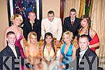 GLAMOUR: Looking good at the Mounthawk Deb's in the Abbey Gate Hotel, Tralee on Saturday were front l-r: Chris Carmody, Chloe Guiry Collins, Janna Foley, Janet Leahy, Clodagh Stack, Erica Tynan and Sean O'Reilly. Back l-r: Joe O'Callaghan, Aaron Byrne and Jerry Baker.