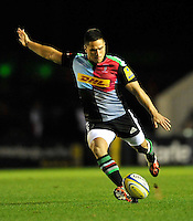 Twickenham, England. Ben Botica of Harlequins  in action during the Aviva Premiership match between Harlequins and Saracens at Twickenham Stoop on September 12, 2014 in London, England.