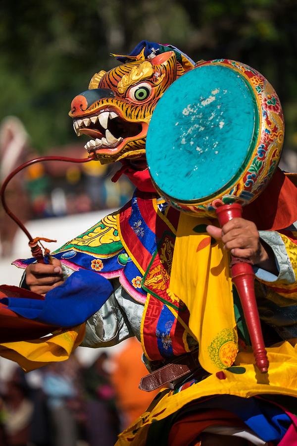 WANGDUE PHODRANG, BHUTAN - CIRCA OCTOBER 2014: Mask performer dancing during the Tshechu Festival inl Bhutan