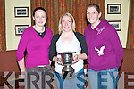 NA GAEIL: Ciara O'Sullivan member of the Na Gaeil Junior Ladies with Junior A County Cup at the Na Gaeil Ladies table quiz on Friday l-r: Deirdre Murphy (Tenis Village), Ciara O'Sullivan (Racecourse Heights) and Megan Shelley (Tenis Village)..   Copyright Kerry's Eye 2008