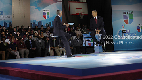 United States President Barack Obama participates in an education town hall hosted by Univision Bell Multicultural High School , Washington, DC  On left moderator Jorge Ramos ..Credit: Dennis Brack / Pool via CNP