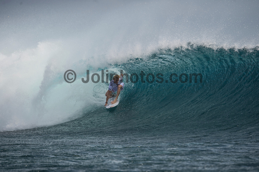 Namotu Island Resort, Namotu, Fiji. (Monday June 2, 2014) Kolohe Andino (USA) – The 2014 Fiji Pro was called on this morning with the swell running in the 3' plus range. The start was delayed till 10.30 am because of the 9.30 am high tide and then they ran the whole of Round 1. Photo: joliphotos.com