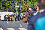 People line up to take baggage inspection before the royal parade to mark the enthronement of Japanese Emperor Naruhito in Tokyo, Japan on Sunday, November 10, 2019. (Photo by AFLO)