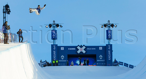 25.02.2016. Wyller Oslo Winter Park, Oslo, Norway.  X Games Oslo 2016. Mens Snowboard SuperPipe Round 1. Pat Burgener of Switzerland competes in the men's Snowboard SuperPipe elimination  during the X Games Oslo 2016 at the Wyller Oslo winter park in Oslo, Norway.