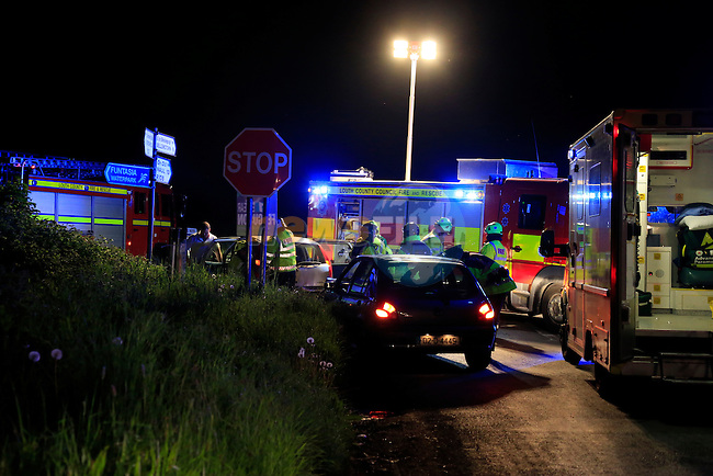 The scene of a two vehicle RTC at the junction of the Baymore road and Colpe road late on Thursday evening. Three fire Appliances and personnel used cutting equipment to remove part of the car to extract a back seat casualty. Three casualties were removed to our lady of Lourdes hospital in Drogheda by ambulance.<br /> Picture: www.newsfile.ie
