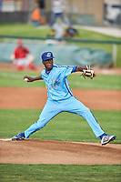 Ogden Raptors starting pitcher Jeronimo Castro (52) throws to the plate against the Orem Owlz at Lindquist Field on June 20, 2019 in Ogden, Utah. The Owlz defeated the Raptors 11-8. (Stephen Smith/Four Seam Images)