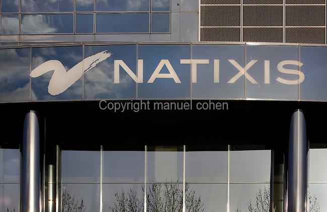 Natixis logo, headquarters building located Quai de la Rapee, 12th arrondissement, Paris, France. Picture by Manuel Cohen