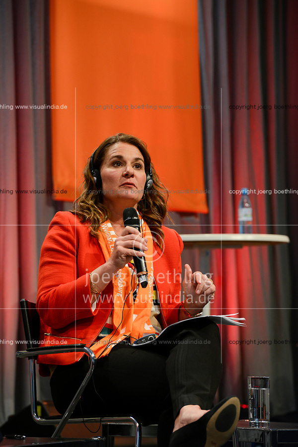 2017, Berlin, protestant church day,  podium discussion with Melinda Gates