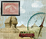 Collage image of a VW camper,compas,sphinx,pyramids and Egyptian stamp depicting travel in Egypt