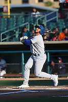 Jose Brizuela (7) of the Stockton Ports bats against the Lancaster JetHawks at The Hanger on May 26, 2016 in Lancaster, California. Stockton defeated Lancaster, 16-7. (Larry Goren/Four Seam Images)
