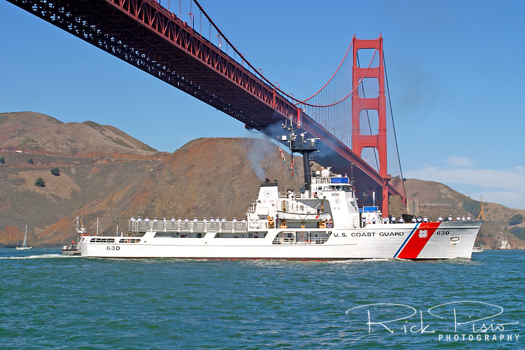 The United States Coast Guard Cutter Alert (WMEC-630) sails under the Golden Gate Bridge as part of the 2007 San Francisco Fleet Week Parade of Ships. Originally commissioned in 1969 the Alert was refurbished in 1993 to extend the ships service life, modernize crew quarters, update electronics systems and redesign of major engineering and damage control spaces. The mission of the Alert is to protect federal fisheries and enforce contraband and immigration laws. Photographed 10/07