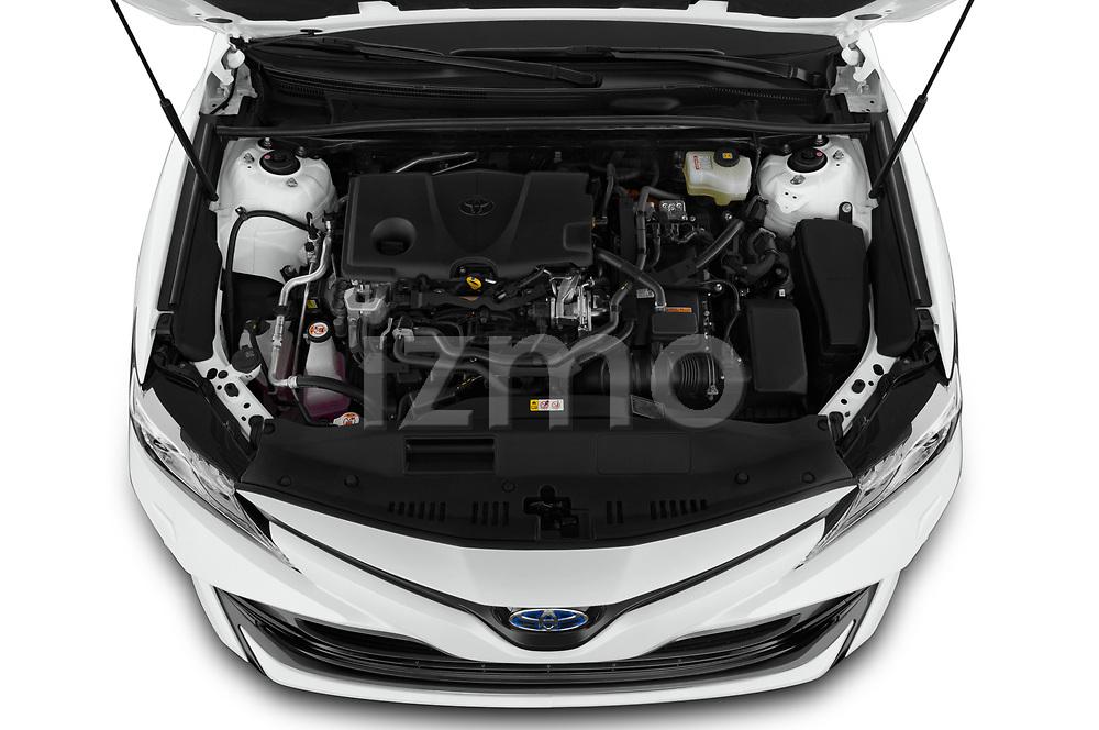 Car Stock 2019 Toyota Camry Premium 4 Door Sedan Engine  high angle detail view