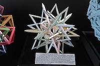 OrigamiUSA Convention 2015 Exhibition. Six Interlocking Real Pentagrams designed and folded by Byriah Loper, KY.