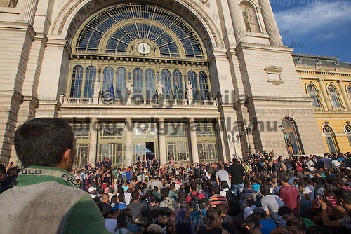 Illegal migrants gather to protest against their denial to travel to Germany at the main railway station Keleti in Budapest, Hungary on September 02, 2015. ATTILA VOLGYI