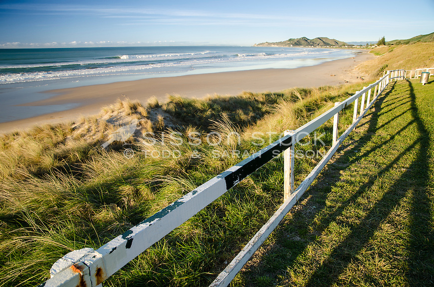 Early morning view of Wainui Beach near Gisborne New Zealand.