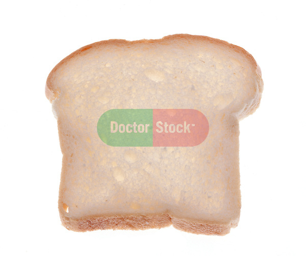 single slice of white bread on shadowless white background