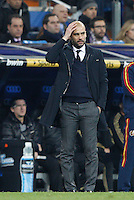 03.01.2012. Copa del Rey 1/4 The match played between  Real Madrid and Barcelona C.F. (1-2)  played at the Santiago Bernabeu Stadium.  Picture show Josep Guardiola coach of F.C. Barcelona