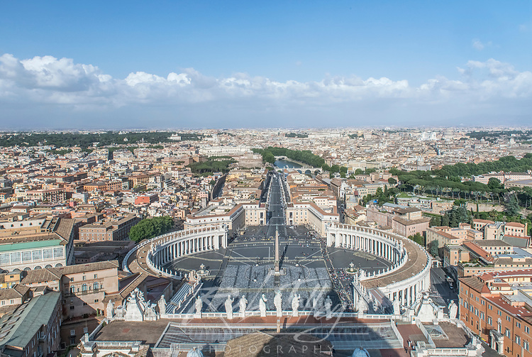 Europe, Italy, Rome, Vatican City, Looking Down on St. Peter's Square (Piazzai San Pietro) from the Basilica Dome