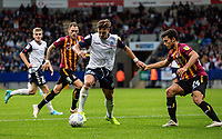 Bolton Wanderers' Dennis Politic (centre) breaks<br /> <br /> Photographer Andrew Kearns/CameraSport<br /> <br /> EFL Leasing.com Trophy - Northern Section - Group F - Bolton Wanderers v Bradford City -  Tuesday 3rd September 2019 - University of Bolton Stadium - Bolton<br />  <br /> World Copyright © 2018 CameraSport. All rights reserved. 43 Linden Ave. Countesthorpe. Leicester. England. LE8 5PG - Tel: +44 (0) 116 277 4147 - admin@camerasport.com - www.camerasport.com