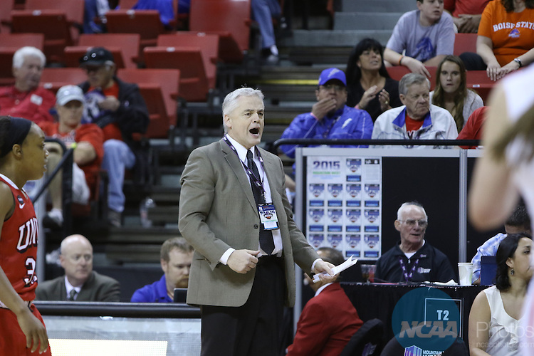 10 Mar 2014: Boise State University takes on University of Nevada Las Vegas during the 2015 Mountain West Conference Women's Basketball Championship at the Thomas & Mack Center in Las Vegas, NV. George Mullinix/NCAA Photos