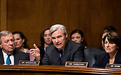 UNITED STATES - SEPTEMBER 27: Sen. Sheldon Whitehouse, D-R.I., center, questions Christine Blasey Ford as Sen. Richard Durbin, D-Ill., and Sen. Amy Klobuchar, D-Minn., listen during the Senate Judiciary Committee hearing on the nomination of Brett M. Kavanaugh to be an associate justice of the Supreme Court of the United States, focusing on allegations of sexual assault by Kavanaugh against Christine Blasey Ford in the early 1980s. (Photo By Tom Williams/CQ Roll Call/POOL)