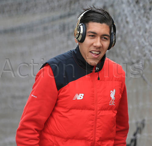 06.03.2016. Selhurst Park, London, England. Barclays Premier League. Crystal Palace versus Liverpool. Roberto Firmino of Liverpool is all smiles as he arrives at the ground before the game.