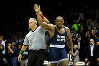 STATE COLLEGE, PA -DECEMBER 19: 285 pounder Jimmy Lawson of the Penn State Nittany Lions gets his hand raised by the referee after winning his match in overtime on December 19, 2014 at Recreation Hall on the campus of Penn State University in State College, Pennsylvania. Penn State won 20-15. (Photo by Hunter Martin/Getty Images) *** Local Caption *** Jimmy Lawson