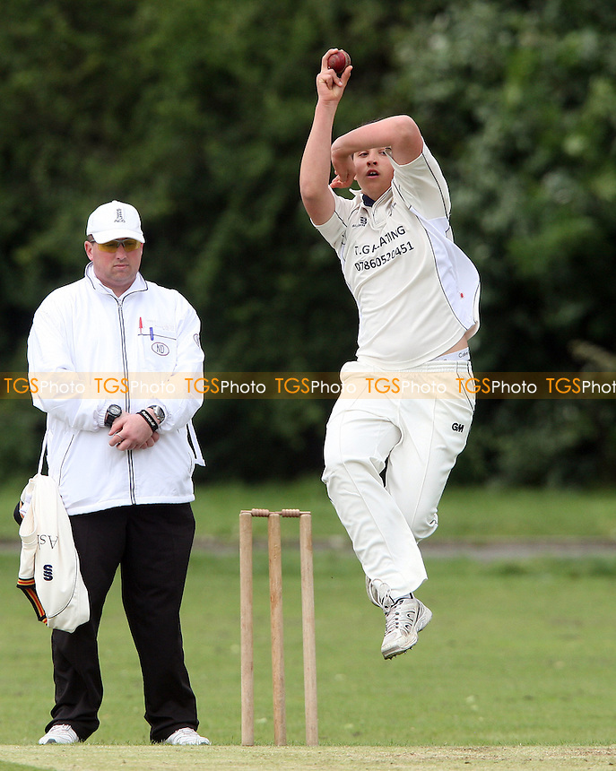 Sam Blowers of Hornchurch Athletic in bowling action - Hornchurch Athletic CC vs Newham CC, Essex League at Hylands Park, Hornchurch - 09/06/12 - MANDATORY CREDIT: Rob Newell/TGSPHOTO - Self billing applies where appropriate - 0845 094 6026 - contact@tgsphoto.co.uk - NO UNPAID USE..