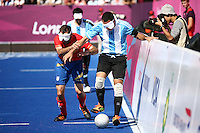 04.09.2012.  London, England. Silvio Velo (ARG) in action during the Men's Football 5-a-side Preliminaries Pool A match between Spain and Argentina during Day 6 of the London Paralympics from the Riverbank Arena