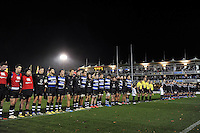 The Bath United and UK Armed Forces teams line up prior to the match. Remembrance Rugby match, between Bath United and UK Armed Forces on November 9, 2015 at the Recreation Ground in Bath, England. Photo by: Patrick Khachfe / Onside Images